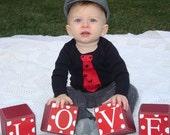 Baby Boy tie valentine heart baby clothing bodysuit shirt