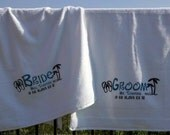 Bride and Groom personalized wedding and honeymoon beach towels