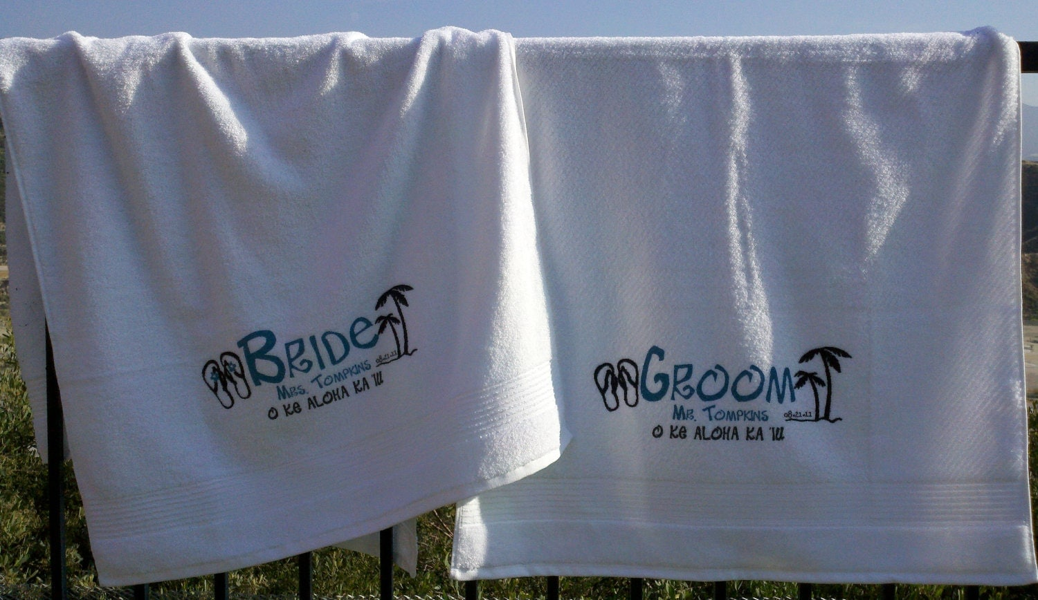 Personalised Wedding Gifts Towels : Bride and Groom personalized wedding and honeymoon beach