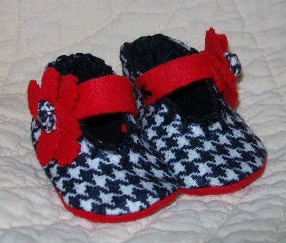 Newborn Black and White Houndstooth Mary Janes