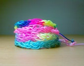 Friendship Bracelets Set - Knitted stackable and adjustable with neon colors, pink, blue and rainbow, set of four