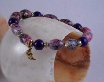 Handmade stretchy Purple bracelet with moon charm