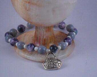 OOAK Handmade stretch Gray bracelet with purse charm