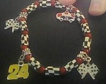 OOAK Beaded Bracelet  24 Jeff Gordon -nascar
