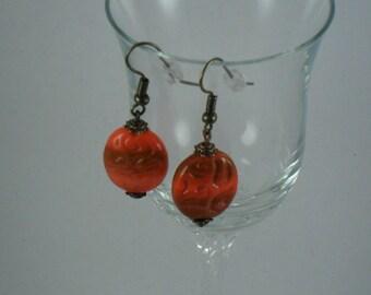 OOAK Pierced bronze metal earrings