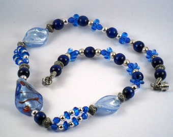 """Red ,Silver ,Blue a 17"""" necklace for you"""