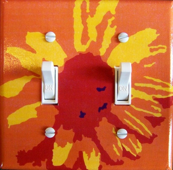 ORANGE DAISY Switch Plate (single or double) - - FREE Shipping - -