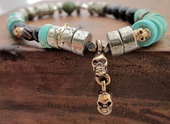 Skull Bracelet with Turquoise, Pyrite, Jade, Sterling Silver and Bronze nugget beads