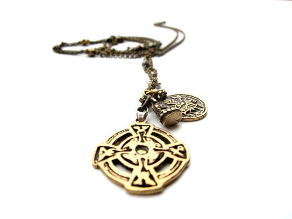 Men's Necklace with Celtic Cross, Kneeling Buddha, and Primitive Greek Coin.  Bronze Skull Chain