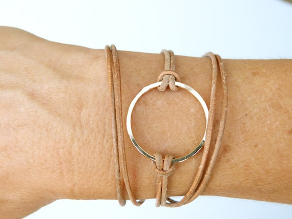 Leather wrap bracelet NUDE BEACH in 14K Gold Fill  and Nude Leather Cord