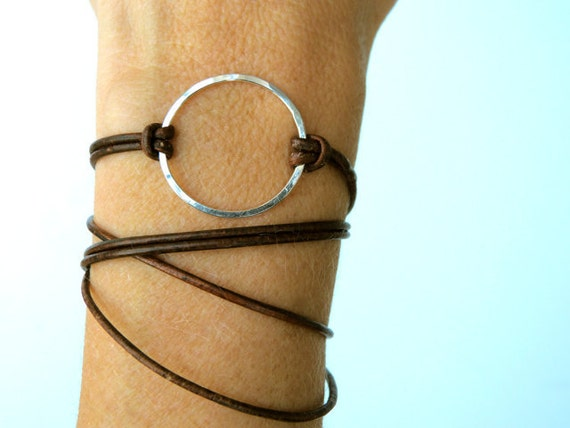 Leather Wrap Bracelet NUDE BEACH in Sterling Silver and Clove