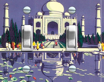 TAJ MAHAL Vintage Travel Poster Switch Plate (single or double)  ***FREE Shipping***