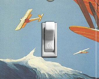 BIPLANES Vintage Poster Switch Plate (single)  ***FREE SHIPPING***