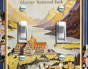 GLACIER National Park Vintage Poster Switch Plate (single or double) ***FREE SHIPPING***