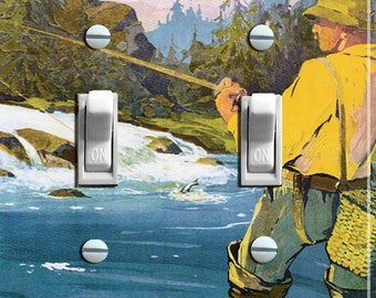 FLY FISHING Vintage Swedish Poster Switch Plate (double)  ***FREE Shipping***