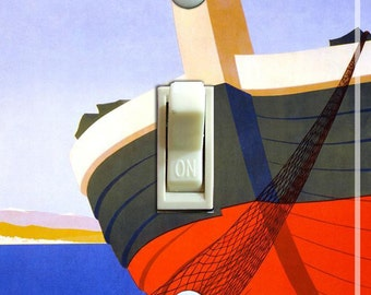 ITALY BOAT Vintage Travel Poster Switch Plate (single) ***FREE Shipping***