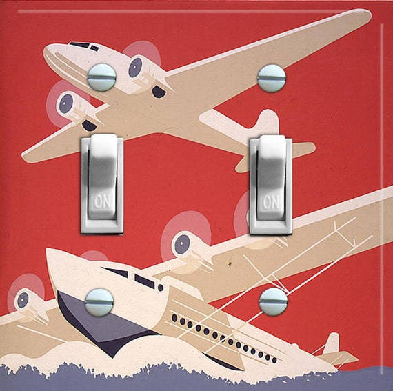 SEA PLANES vintage poster Switch Plate (double)  ***FREE Shipping***