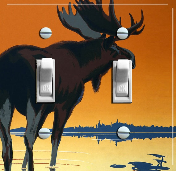 MOOSE in Sunset Vintage Poster Switch Plate (single or double)  ***FREE SHIPPING***