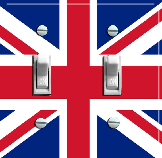 BRITISH Union Jack Flag Switch Plate (single, double or triple)  - - FREE Shipping - -