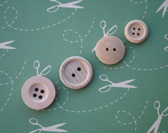 Wood Buttons Natural Color--set of 25-- 4 different styles