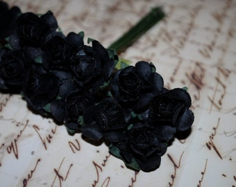 24--Black- Colored mini paper roses