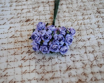 24--LAVENDER--Beautiful Colored mini paper roses