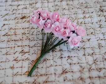 24-- Pink-Mini paper roses