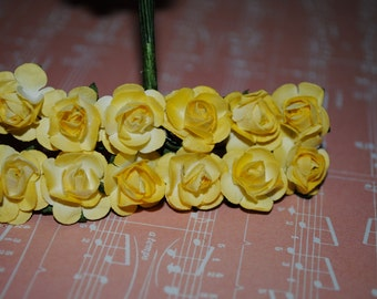 24--YELLOW--Beautiful Colored mini paper roses