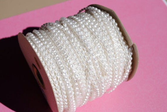 Roll of flatback pearls, 50 yards--Off-White--4mm