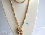 Pearl Necklace - 64 inches 7-8mm Champagne Freshwater Pearl Long Necklace - Free shipping