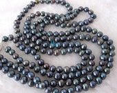 Pearl Necklace - 24-25 inches 6-7mm 2 Row Peacock Blue Freshwater Pearl Necklace - Free shipping