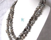 Pearl Necklace - 47 inch Black Water Wave Baroque Freshwater Pearl Necklace - Free shipping