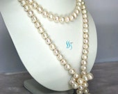 Pearl Necklace - 48 inches 10-11mm White Freshwater Pearl Rope Necklace - Free shipping