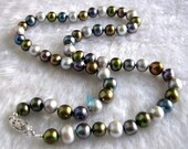 Pearl Necklace - 18 inch 7-8mm Multi Color Freshwater Pearl Necklace 3 - Free shipping