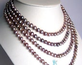 Pearl Necklace - 66 inch 6-7mm Lavender Freshwater Pearl Long Necklace - Free shipping