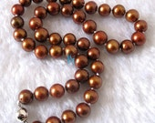 Pearl Necklace - 18 inches 9-10mm Coffee Nearly Round Freshwater Pearl Necklace - Free shipping