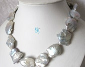 Pearl Necklace - Huge 18 inches 22-32mm White Souffle Freshwater Pearl Necklace - Free shipping