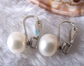 Clip On Earrings - AAA 8.5-9.0mm White Freshwater Pearl Clip On Earrings - Free shipping