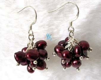 Pearl Earrings - 6-7mm Dark Red Freshwater Pearl Dangle Earrings D11S - Free shipping