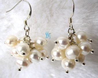 Pearl Earrings - 6-7mm White Freshwater Pearl Dangle Earrings D11S - Free shipping