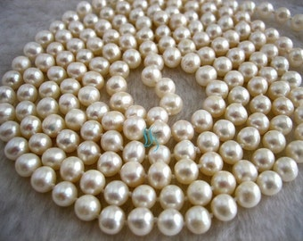 Pearl Strand Necklace - 52 inch 6-7mm White Freshwater Pearl long Strand Necklace - Free Shipping