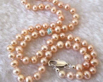 Pearl Necklace - Cute 18 inches 4.5-5.5mm Pink Freshwater Pearl Necklace - Free shipping