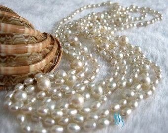 Pearl Necklace - 75 inches 4.5-8.5mm White Freshwater Pearl Long Necklace - Free shipping
