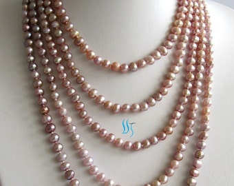 Pearl Necklace - 100 inch 6-7mm Lavender Freshwater Pearl Long Necklace - Free shipping