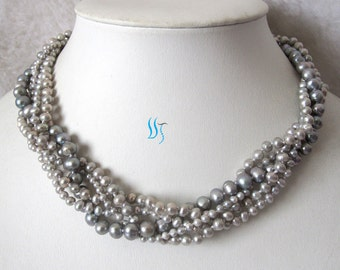 Gray Pearl Necklace, Wedding Pearl Necklace - 18 inches 5 Row 3-7mm Gray Freshwater Pearl Necklace - Free shipping