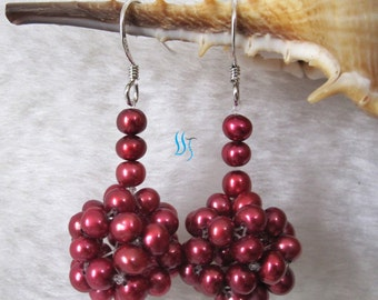 Pearl Earrings - 4-5mm Dark Red Freshwater Pearl Earrings D8S - Free shipping
