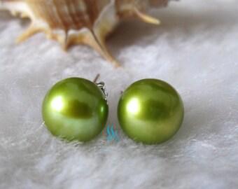 Stud Earrings - AAA 8.5-9.0mm Green Freshwater Pearl Stud Earrings - Free shipping