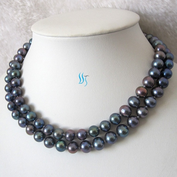 Pearl Necklace - 34 inches 9-10mm Peacock AA Freshwater Pearl Necklace - Free shipping