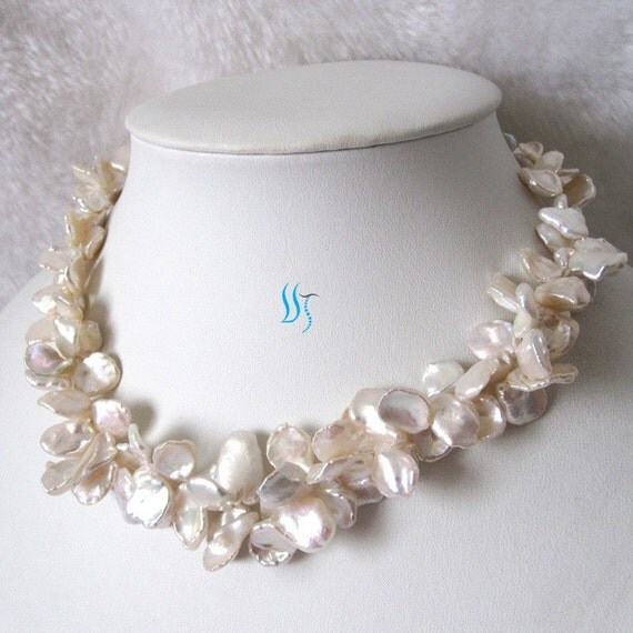Pearl Necklace - 20 inches 2 Row 8-16mm White Keshi Pearl Necklace - Free shipping