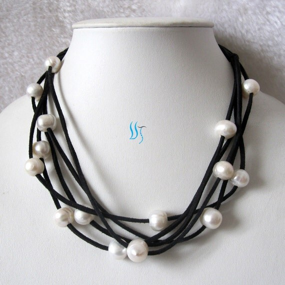 String Pearl Necklace: Pearl Necklace 19 Inches 5 Row 10-11mm White By PearlsStory